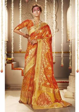 For A Proper Traditional Look, Grab This Designer Silk Based Heavy Weaved Saree In Orange Color. This Saree And Blouse Are Fabricated On Banarasi Art Silk Beautified With Heavy Weave. Buy Now.