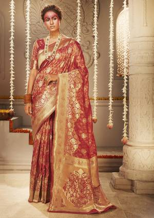 For A Proper Traditional Look, Grab This Designer Silk Based Heavy Weaved Saree In Dark Orange Color. This Saree And Blouse Are Fabricated On Banarasi Art Silk Beautified With Heavy Weave. Buy Now.