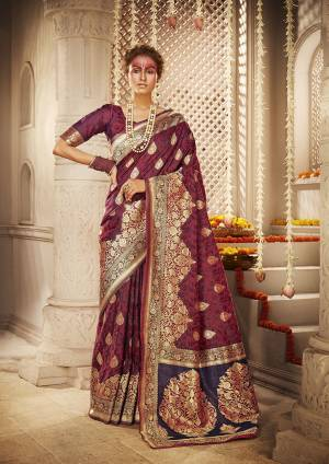 For A Proper Traditional Look, Grab This Designer Silk Based Heavy Weaved Saree In Magenta Pink Color. This Saree And Blouse Are Fabricated On Banarasi Art Silk Beautified With Heavy Weave. Buy Now.