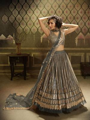 Get Ready For This Wedding Season Wearing This Heavy Designer Lehenga Choli In Grey Color. This Beautiful Heavy Embroidered Lehenga Choli Is Fabricated On Net Beautified With Jari Embroidery And Sequence Work.