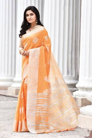 Simple And Elegant Looking Saree Is Here In Orange Color. This Saree and Blouse Are Fabricated On Linen Cotton Beautified With Weave. It Is Light In Weight and Easy To Carry All Day Long.