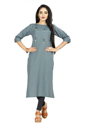 Grab This Simple and Elegant Looking Readymade straight Cut Kurti In Blue color. This Kurti Is Fabricated On Rayon And Comes With A Matching Mask. Buy Now.