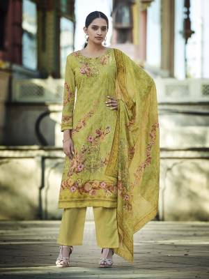 Look Pretty Wearing This Designer Straight Suit In Pear Green Color. Its Pretty Top And Dupatta Are Fabricated On Cotton Beautified With Digital Print And Thread Work Paired With Plain Combric cotton Fabricated Bottom.
