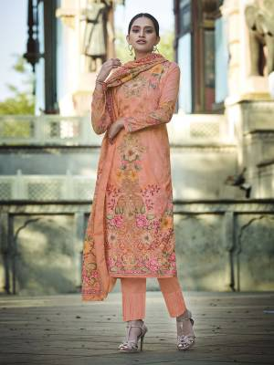 Add This Beautiful Digital Printed Designer Straight Suit In Peach Color To Your Wardrobe. This Pretty Suit Is cotton Based Beautified With Digital Print And Thread Work. Buy Now.