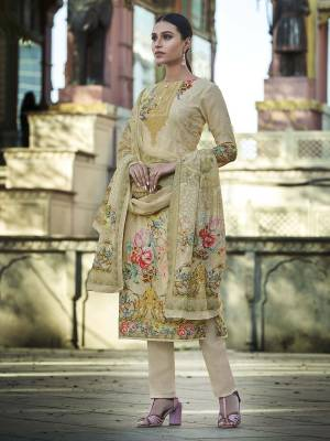 Look Pretty Wearing This Designer Straight Suit In Cream Color. Its Pretty Top And Dupatta Are Fabricated On Cotton Beautified With Digital Print And Thread Work Paired With Plain Combric cotton Fabricated Bottom.