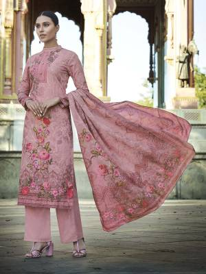 Add This Beautiful Digital Printed Designer Straight Suit In Pink Color To Your Wardrobe. This Pretty Suit Is cotton Based Beautified With Digital Print And Thread Work. Buy Now.