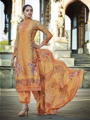 Look Pretty Wearing This Designer Straight Suit In Orange Color. Its Pretty Top And Dupatta Are Fabricated On Cotton Beautified With Digital Print And Thread Work Paired With Plain Combric cotton Fabricated Bottom.