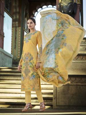 Look Pretty Wearing This Designer Straight Suit In Yellow Color. Its Pretty Top And Dupatta Are Fabricated On Cotton Beautified With Digital Print And Thread Work Paired With Plain Combric cotton Fabricated Bottom.