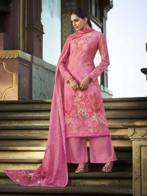 Look Pretty Wearing This Designer Straight Suit In Pink Color. Its Pretty Top And Dupatta Are Fabricated On Cotton Beautified With Digital Print And Thread Work Paired With Plain Combric cotton Fabricated Bottom.
