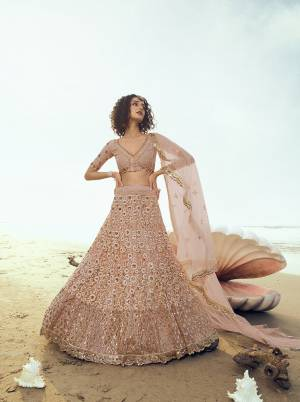 Flaunt Your Rich And Elegant Taste Wearing This Heavy Designer Lehenga Choli In Peach Color. Its Heavy Embroidered Lehenga, Choli and Dupatta Are Fabricated On Net. Buy This Pretty Piece Now.