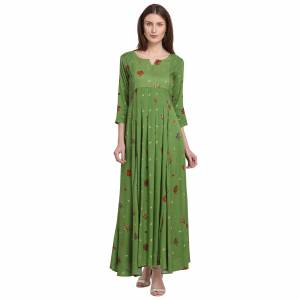 For Your Semi-Casuals, Grab This Designer Readymade Long Kurti In Green Color Fabricated On Rayon. It Is Beautified With Foil Prints And You Can Pair This Up With Some Accessories For A Festive Look. Buy Now.