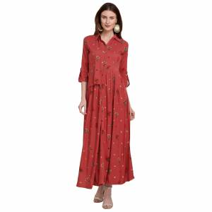For Your Semi-Casuals, Grab This Designer Readymade Long Kurti In Old Rose Pink Color Fabricated On Rayon. It Is Beautified With Foil Prints And You Can Pair This Up With Some Accessories For A Festive Look. Buy Now.