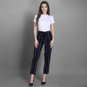 Grab This Pretty Comfortable Printed Readymade Jeggins In Navy Blue Color. It Is Fabricated On Rayon In Free Size With Ealsticated Waist Band.