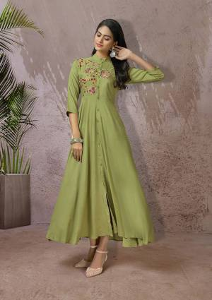 Celebrate This Festive Season With Beauty And Comfort Wearing This Readymade Long Kurti In Light Green Color Fabricated Rayon. This Pretty Kurti Is Beautified With Multi Colored Thread Work Giving An Attractive Look. Also It Is Available In All Regular Sizes.