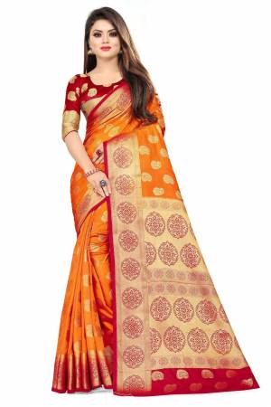 For A Proper Traditional Look, Grab This Heavy Weaved Silk Based Designer Saree In Orange Color Paired with Red Colored blouse. This Saree and Blouse Are Fabricated On Art Silk Which Gives A Rich Look To Your Personality.