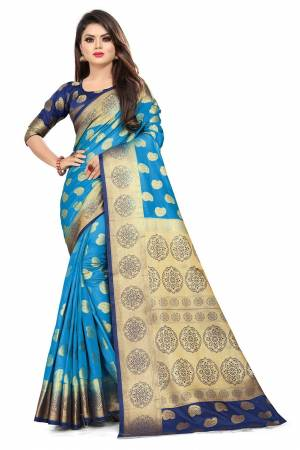 For A Proper Traditional Look, Grab This Heavy Weaved Silk Based Designer Saree In Blue Color Paired with Navy Blue Colored blouse. This Saree and Blouse Are Fabricated On Art Silk Which Gives A Rich Look To Your Personality.
