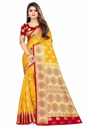 For A Proper Traditional Look, Grab This Heavy Weaved Silk Based Designer Saree In Musturd Yellow Color Paired with Red Colored blouse. This Saree and Blouse Are Fabricated On Art Silk Which Gives A Rich Look To Your Personality.