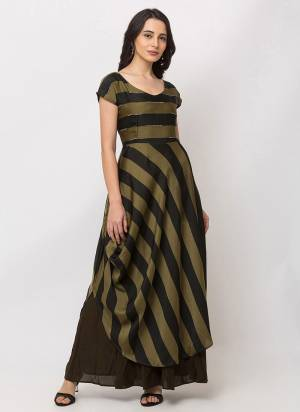 Here Is A Lovely Striped Patterned  Designer Readymade Gown In Olive Green and Black Color. This Pretty Gown Is Fabricated On Crepe Satin And Is Suitable For Festive Or Party Wear.