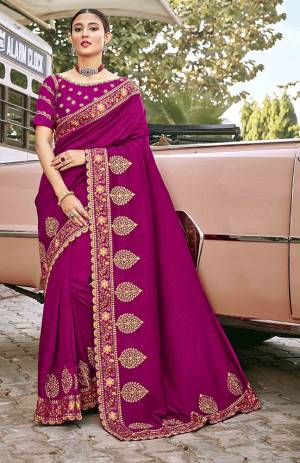 Look Attractive Wearing This Magenta Pink Colored Saree Paired With Magenta Pink Colored Blouse.  This Heavy Designer Saree Is Silk Based Which Gives A Rich Look To Your Personality. Buy This Pretty Saree Now.